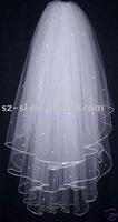 Beaded bridal wedding veils