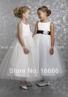 Ball Gown Sleeveless Sash Satin Ankle Length Flower Girl Dresses Cheap For Kids FL014