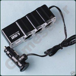 Free shipping 3 Way Car Cigarette Charger Socket Adapter+USB(China (Mainland))