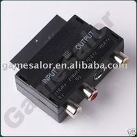 RGB Scart to 3 RCA S-Video Audio AV TV Adapter  #9711 FREE SHIPPING