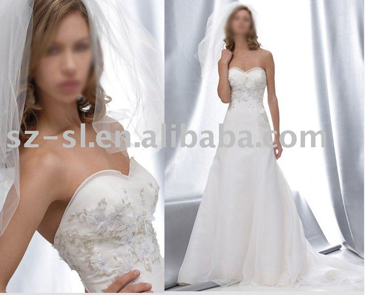 Bridal wedding dress zipper back sl-341(China (Mainland))