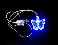 blue led butterfly necklace for party