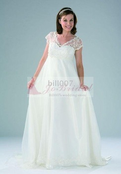 A-line V-neck Organza Floor-Length 2009 Style Maternity Bridal Gowns SKUmwd9011