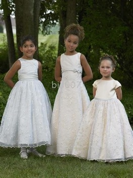Ball Gown Scoop Floor- Length Flower Girl Dresses 2009 Style SKU510040