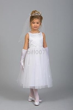 A-line Scoop Tea- Length Flower Girl Dresses 2009 Style SKU510004