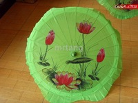 5Pcs/Lot Hand Painted Lotus Parasol Bamboo Silk Umbrellas For Decoration Gift Dance Travelling