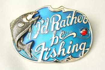 -New Year 20pcs I d Rather Be Fishing Blue Rock Belt Buckle B204