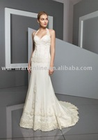 2012 New Arrival ML273 A-line Removable Halter Natural Full-length Ivory Beaded Lace Over Satin Court Train Elegant Bride Dress