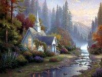 100% handicraft oil paintings:Deluxe villas 24x36 Inch