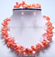"free shipping,wholesale, 17-19"" 2 rows pink coral and opal necklace set"