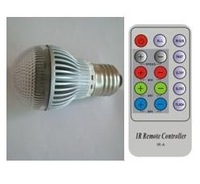 5W RGB LED bulb with IR controller 2, E27 base, 110-240 VAC input