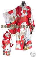 kimono wedding clothing woman dress dancewear suit 071708 red