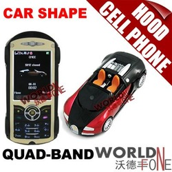 FREE SHIPPING!!! 3PCS/LOT HOOD BUGATTI CAR-SHAPE QUADBAND DUAL CARDS 2.4-INCH TOUCH SCREEN CELL PHONE+2GB TF(Gift) (WF-H00D)(Hong Kong)