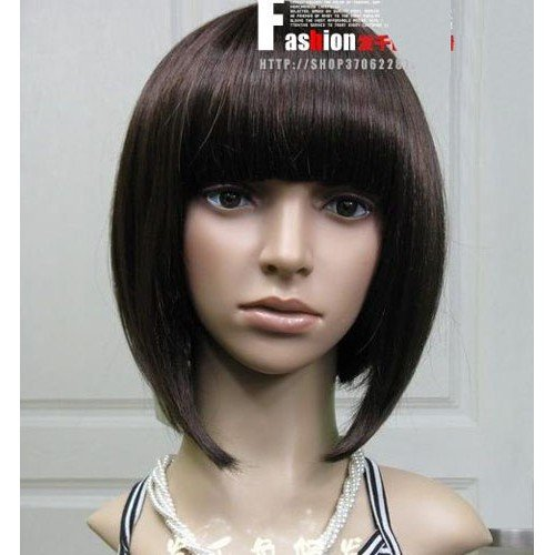 free shipping wholesale Super Pretty Stylish Long Human Made Hair wig/wigs 02(China (Mainland))