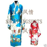 kimono wedding clothing dress dancwear suit 071708 blue