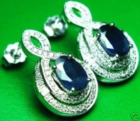 2.68CT SOLID 14K W/G GORGEOUS SAPPHIRE DIAMOND EARRINGS