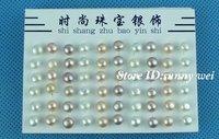 Hot!! Cute!  925 sterling silver freshwater pearl stud earring 6mm,60pcs/lot