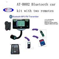 10pcs car bluetooth handsfree car kit car mp3 fm transmitter + USB/SD/MMC AT-B002