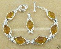 925 silver Amber bracelet&pendant set,Fashion Jewelry