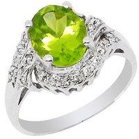 Genuine peridot silver ring fashion jewelry SR0017P