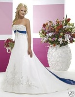 White Satin Bridal Evening Gown Wedding Dress Blue Obi