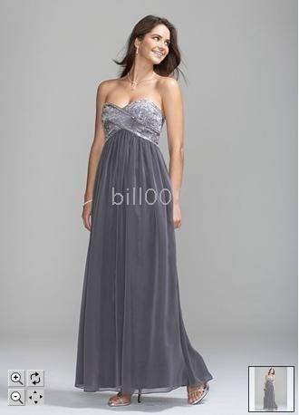 La robe avec des retours au pays perlés de corsage habille mousseline de soie du modèle 54602 de DB la longue sans bretelles