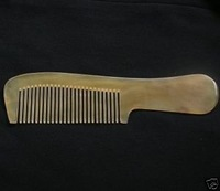 17cm! Tibetan Yak Horn Carved Comb No Static Y7