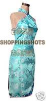 chinese cheongsam women clothing Shoulder gown qipao dress 520412 blue(China (Mainland))