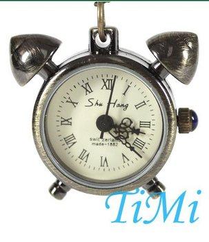 Bronze Tone Clock Designer Necklace Quartz Watch +Chain