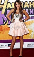blush-coloured tiered Dress Teen queen Miley Cyrus