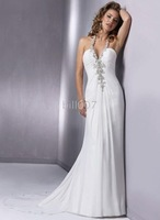 2010 new style  Competitive Price Halter Chiffon Sexy Slinky Silhouettes Wedding Dress
