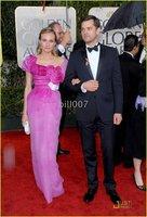 2010 Golden Globe Awards Diane Kruger Sheath/ Column Square Floor-length Short Organza Evening Dress