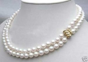 Beautiful 2row 8mm White Freshwater Pearl Neckl Ketten(China (Mainland))