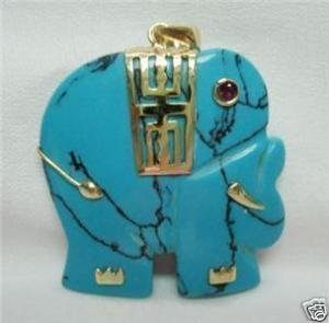 Natural turquoise Jade Elephant Pendant Necklace(China (Mainland))