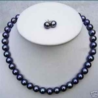 8-9MM GENUINE SOUTH SEA BLACK PEARL NECKLACE EARRING