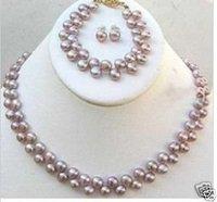 7~8MM purple real Pearl Earring necklace bracelet set
