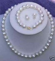 7-8MM Real Cultured Pearl Necklace Bracelet Earring Set