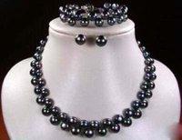 Set Black Cultured Pearl Necklace Bracelet & Earring