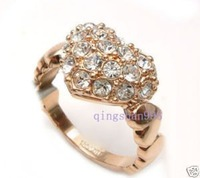 solid lady's heart crystal ring rings Size :16-19