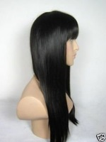 2010 Brown with Bangs Long Wave Wavy for Human Hair Wig