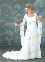 Bridal Gown Plus-Size&colour Custom long sleeve white Wedding Dress