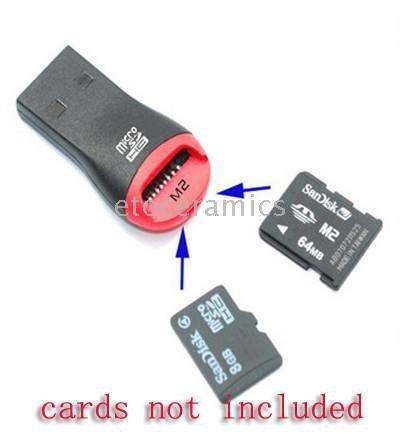 1000pcs/Lots USB 2.0 MicroSD T-Flash TF M2 Memory Card Reader USB 2.0 Card Reader SDHC micro Card Reader/Writer(China (Mainland))