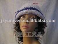 Hand crochet fashion woman wool hat