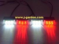 car light source New 4x 3 LED Emergency Truck Strobe Red/White Light car styling Light Bar