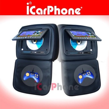 "iCarPhone 7"" Headrest DVD player LCD Monitor with Game USB SD TV"