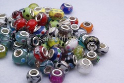 Wholesale - Glass Beads silver double core fit Chamilia Biagi Italian Bead Charm bracelet mix styles(China (Mainland))