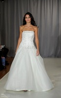embroidery white A-line Wedding Dresses Customd size! Beautiful strapless floor-length