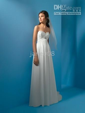 2011 New arrival!!~~~ Sexy chiffon A-line floor-lengh Beading Beach Wedding Dresses(China (Mainland))
