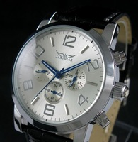 Swiss Automatic Mechanical 6 Hands Leather Mens Watch freeship cool
