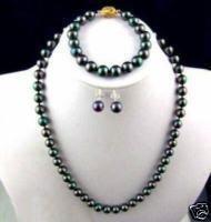 "Tahitian Black Pearl Necklace Bracelet Earrings Sets 17.5"" 8"" 8-9mm"